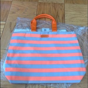 Lancôme creamsicle striped tote bag NWT